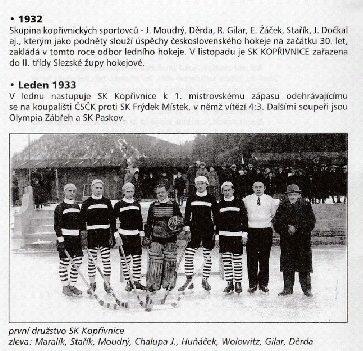 Dobové fotografie hokejového klubu Kopřivnice